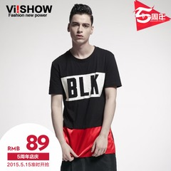 Viishow2015 summer dress new short sleeve t-shirt men and streets of Europe and the alphabet spell color cotton short sleeve t shirt