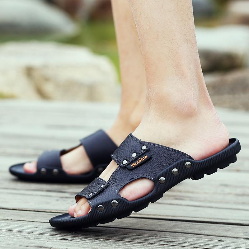2017新款真皮凉鞋男士夏季休闲外穿防滑室外男式沙滩凉拖拖鞋潮流