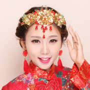 Great auspicious beauty bridal tiara red wedding and festive decorations, Phoenix coat dresses show Wo clothing suits