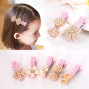 Know Richie children''s hair accessories Korean fine Pearl on drill edge hair clips little flower hairpin girls head ornaments