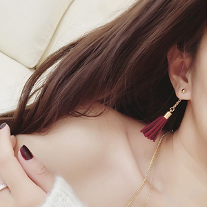 Korean fashion autumn and winter after the new retro chain hanging suede tassel earrings temperament earrings with jewelry