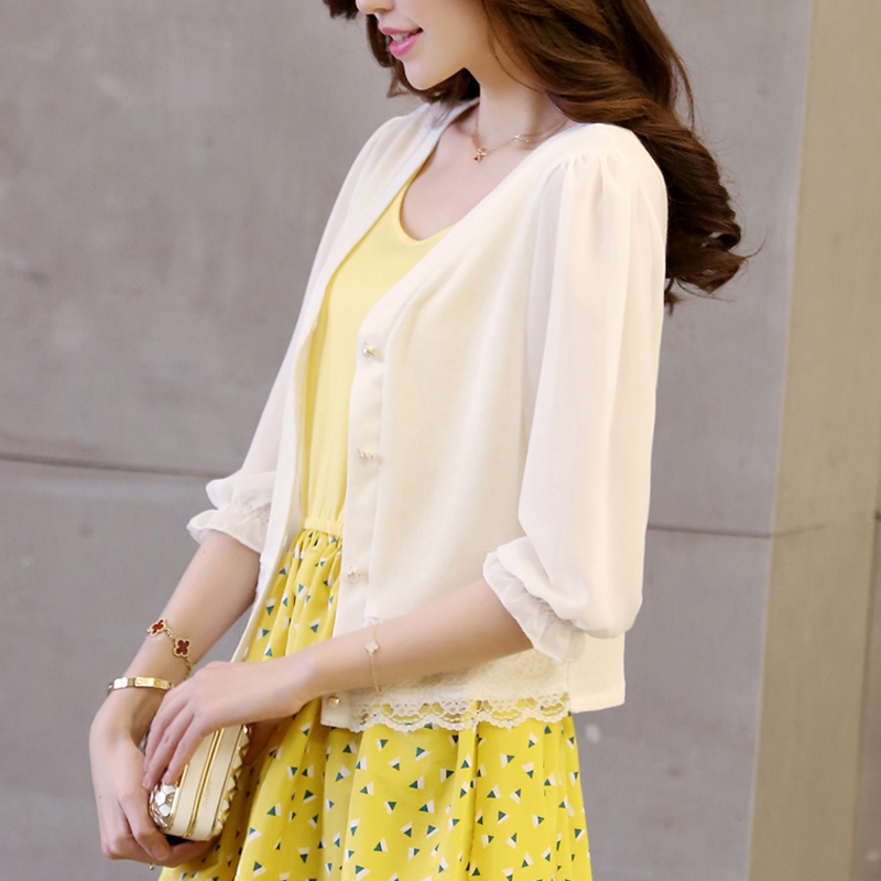 超薄款针织衫女开衫夏季短款七分袖小披肩外套空调衫防晒衣外搭