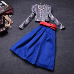 Style women's clothing-fall 2014 two-piece new European and American fashion dresses fall dresses, long sleeve suit #