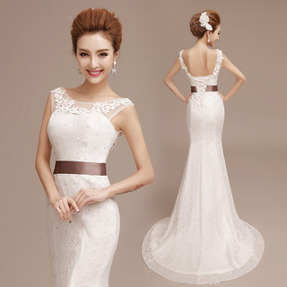 Wedding gowns 2015 new small trailing two-shoulder fishtail dress Korean sexy hip skinny evening dress-white