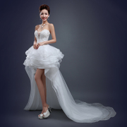 Wedding gowns 2015 before the new spring fashion after a short tail with purple long dress sexy slim slimming studded summer