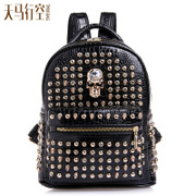 Wild Spring 2015 new drilling rivet backpack girl Korean version flows patent leather crocodile pattern satchel bag