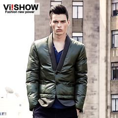 Viishow new men's cotton-padded clothes men casual collarless coat jacket winter tide men's cotton dress