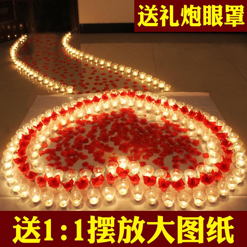 蜡烛送大图纸浪漫心形爱心玫瑰套餐生日创意求爱求婚表白道具布置