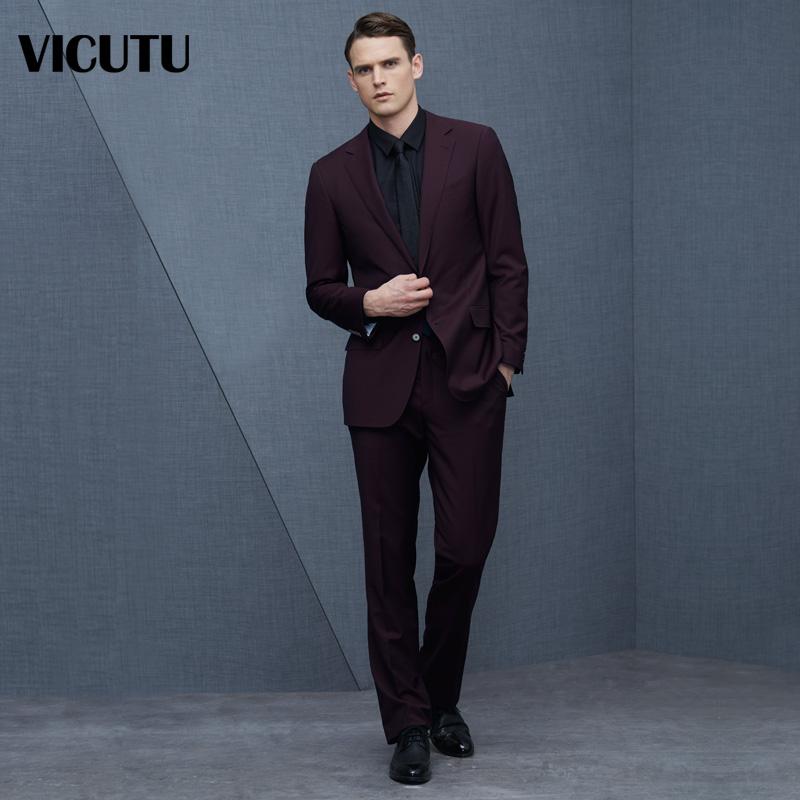 VICUTU/威可多男商务休闲进口面料西装纯羊毛套西上装VBS14112226