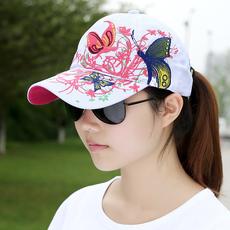 棒球帽子女韩版潮 夏季户外嘻哈绣花鸭舌帽运动帽蝴蝶刺绣遮阳帽