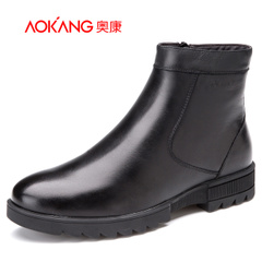 Aokang shoes 2015 winter short tube warm men's shoes men's non-slip leather boots in winter leather men boots