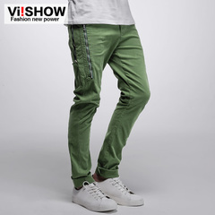 Spring slacks viishow2015 boy slim Korean version of pure straight zipper trim trousers men