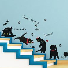 可移除墙贴 喵咪 创意客厅卧室玻璃墙壁贴纸卡通动物黑猫咪贴画