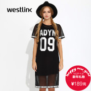 Westlink/West fall 2015 new tide loose mesh black and white letters printed two sets of t-dress