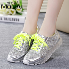 2015 new style platform shoes with mesh Rhinestone Charm love recreational sports Department of the people's shoes genuine leather shoes