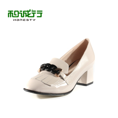 He Chenghang and Ms 2015 Spring College wind leather pointed shoes with high heels shoes 0400061