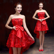 2015 new spring/summer fashion long bridal gown bridesmaid dress wedding toast clothing red tube top evening dress
