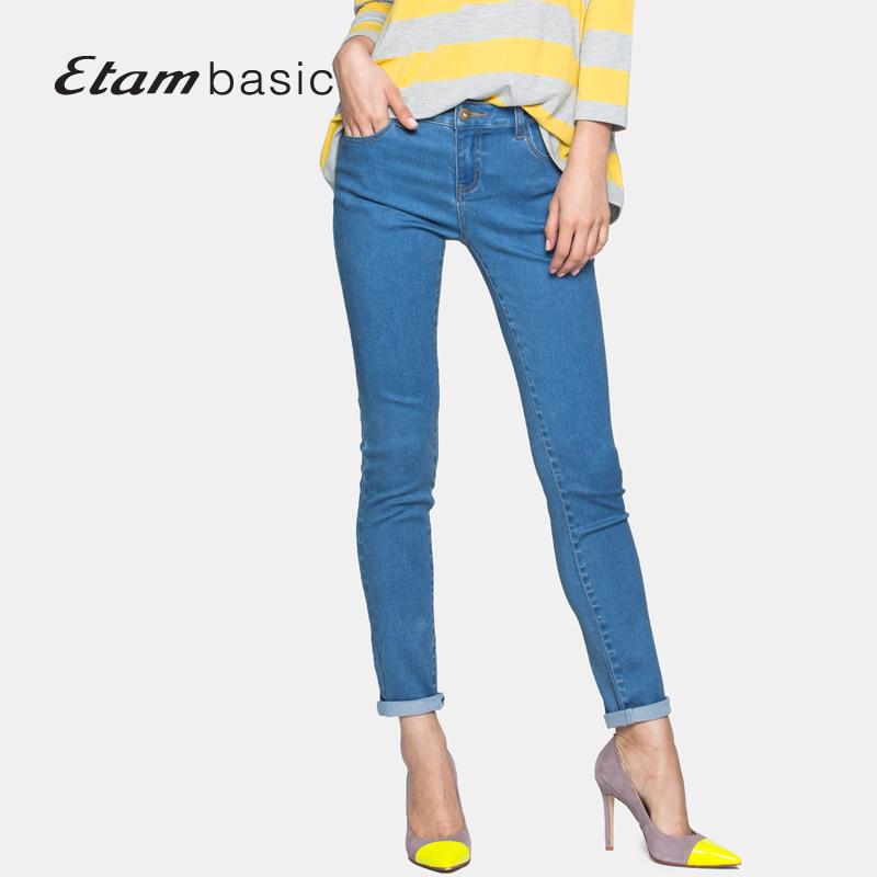艾格ETAMbasic2016夏纯色修身牛仔小脚裤152023000