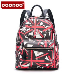 Doodoo casual printed backpack girl Korean version flows Institute Wind Street travel autumn women Pu leather backpack bags