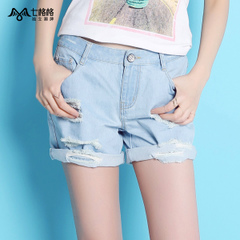 Seven space space OTHERCRAZY new Womenswear holes straight light wash denim shorts women