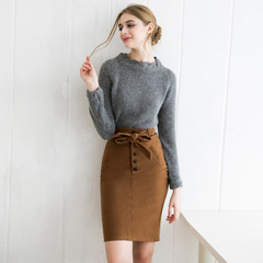 Europe Spring new style elegant bow strap simple commuter slim package hip skirt high waist skirt in 9256