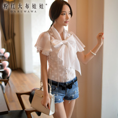 Female shirt short sleeve summer pink doll summer 2015 new ladies white lace bow blouse woman