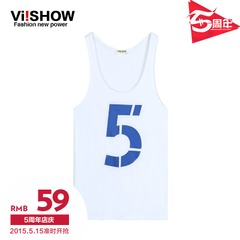 Viishow2015 summer dress new style men's cotton white alphabet vest vest sweater in Europe and America the tide