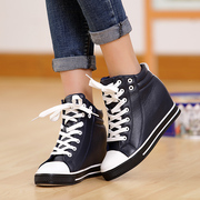 Special offer increased clearance autumn authentic flat-bottomed PU leather hight cut ladies casual shoes women shoes-Korean version flows
