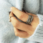 Korea new vintage two-piece ring metal fashion ring 2 suite finger joint ring wild woman