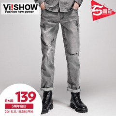 Cat hole viishow new men's jeans men patch straight leg trousers English City boy pants