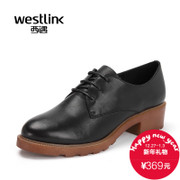 Westlink/West in the spring of 2016 new College wind casual round leather chunky heels women's shoes