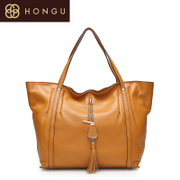 Honggu Hong Gu counters authentic European fashion casual suede leather fringed hand shoulder women bag 1054