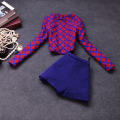 Autumn/winter 2014 two-piece new stylish casual Plaid pants suit