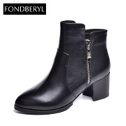 Fondberyl/feibolier 2015 winter new style leather pointy thick high heel ankle boots shoes FB54113027