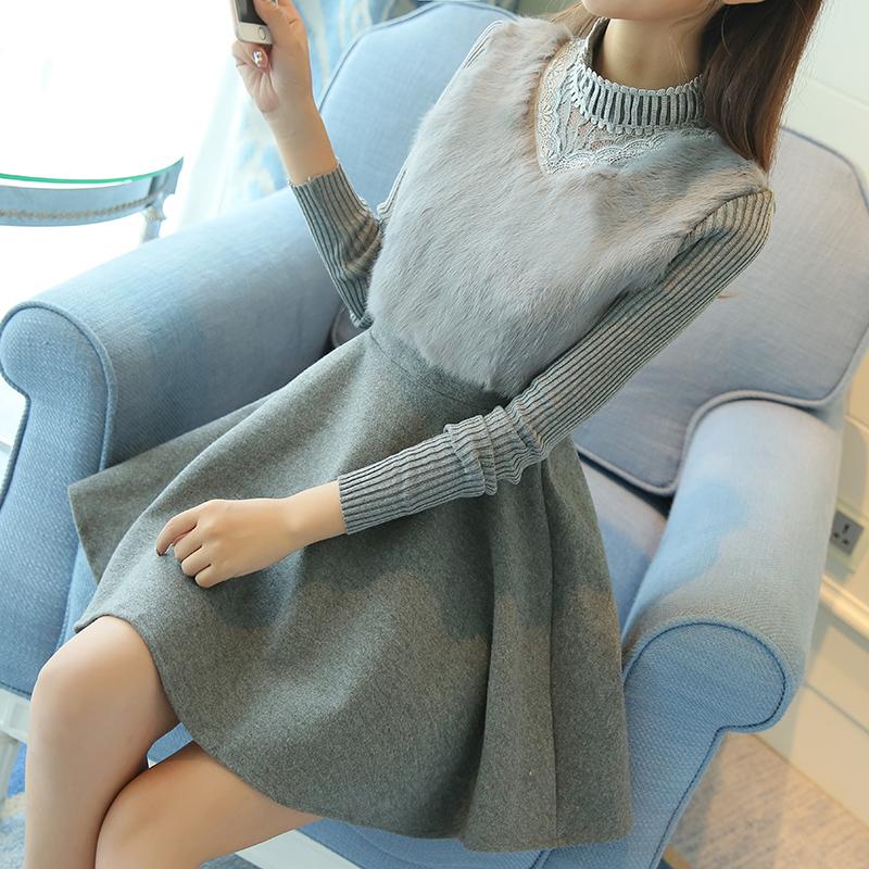 2016新款韩版蕾丝甜美长袖针织兔毛打底裙中长款