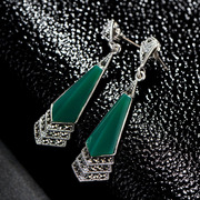 Thai-925 Sterling Silver earrings fashion original imported European and American retro long natural green agate earrings earring