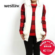 Westlink/West New 2015 winter hooded long faux fur plush vest Sleeveless Women's blouses