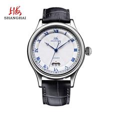 上海手表自动机械表经典复古日历防水舒适皮带透底休闲男腕表662