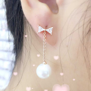 Ya na Korea fashion temperament fringed long Pearl Earrings zircon earrings ear nail ear jewelry