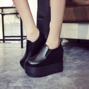Fall 2015 new simple Korean wedges women's shoes shoes feet lazy people thick-soled platform shoes high heel shoes