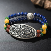 Thai ladies bracelets 925 Silver Joker printing Thai silver natural lapis lazuli bracelet female new wave