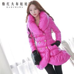 Down jacket women pink rag doll in the long winter of 2015 lapel double breasted tail-down jacket