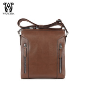 Wan Lima men's Messenger bag Korean font vertical leather men's shoulder bag man bag