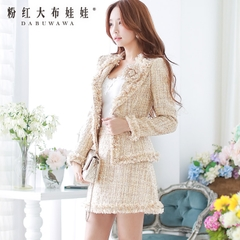 Wool coat women pink doll fall/winter wear fashion wide lapels pick slim cropped jacket