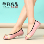 New casual and comfortable leather shoes asakuchi 2014 summer flat-foot fish mouth shoes Tilly cool foot