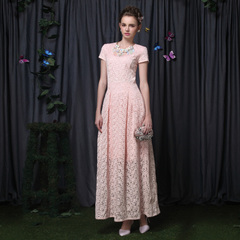 Celebrities nude pink organza elegant embroidered lace long skirt high waist retro swing dress with short sleeves 9094