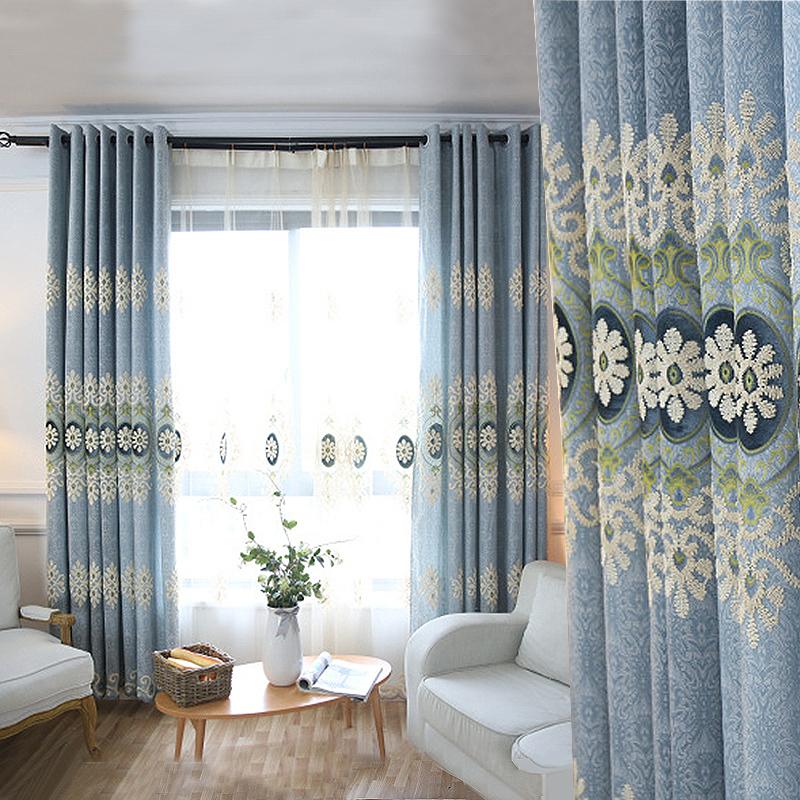 叶语香澜欧式雪尼尔提花窗帘卧室客厅落地窗遮光成品窗帘定制