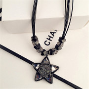 Love new Korean fashion black full rhinestone star necklace Korea clavicle chain accessories female collar bone short chain