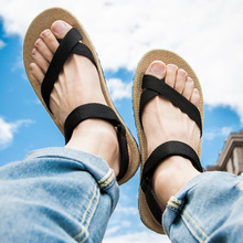 凉鞋男士夏zh2亚麻休闲po款个性户外海边沙滩鞋男夹脚越南鞋