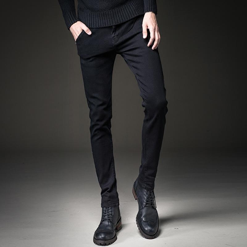 黑色加绒牛仔裤男士修身小脚裤秋冬款休闲长裤子男韩版潮流冬季厚